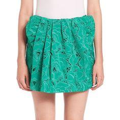 NO. 21 Giorgina Embroidered Mini Skirt (11,405 MXN) ❤ liked on Polyvore featuring skirts, mini skirts, apparel & accessories, esmeraldo, green lace skirt, embroidered mini skirt, green mini skirt, lace miniskirt and short mini skirts