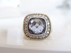 Designer Sterling Silver 925 Tanzanite White Zircon w Gold Accent Halo Ring 7 #TGI #SolitairewithAccents