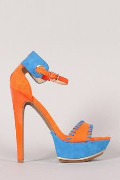 Shoe Republic Soriya Two Tone Open Toe Ankle Strap Heel
