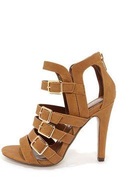 My Delicious Kiara Tan Nubuck Caged High Heel Sandals  |  @lulusdotcom