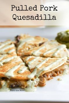 Pulled Pork Quesadilla is the best way to use up leftover pulled pork. Quick, easy and ready in 10 minutes, it makes for a tasty lunch or dinner! Pulled Pork Quesadilla, Pork Nachos, Pulled Pork Tacos, Pulled Pork Wrap, Pulled Pork Sides, Pull Pork, Authentic Mexican Recipes, Mexican Food Recipes, Cheesy Recipes