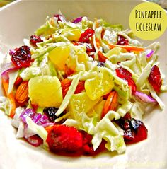 """This simply delicious """"Pineapple Coleslaw"""" is light, tangy and good for you! Serve it as a side dish for lunch with a tuna sandwich or a hamburger!"""