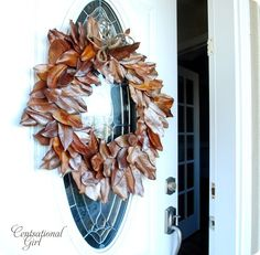Magnolia fall wreath (I don't have magnolia trees, but maybe try rhododendon leaves? Magnolia Wreath, Magnolia Leaves, Autumn Wreaths, Autumn Trees, Welcome Wreath, Fall Crafts, Holiday Crafts, Diy Christmas, Looks Cool