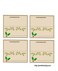 Free Printable Christmas Cards | Free Printable Christmas Place-Cards | Print This Today