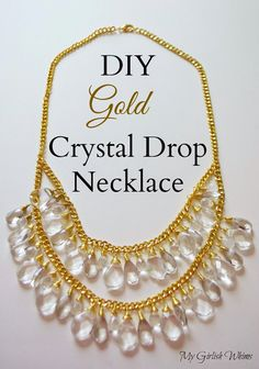 My Girlish Whims: DIY Gold Crystal Drop Necklace