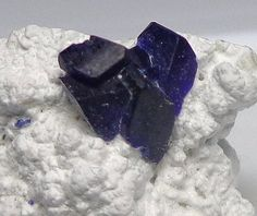 Azure blue Henmilite crystals (rare) on white Olshanskyite / Fuka Mine, Bicchu-cho, Japan