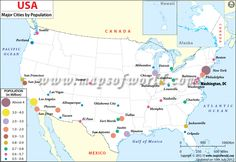 Most Populated Cities In Us Map Of Major Cities Of Usa By Population