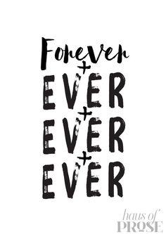 Forever Romantic Quote Love Minimal Typography por HAUSOFPROSE