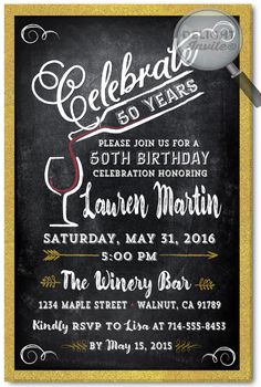Golden Wine Party 50th Birthday Invitations [DI-476] : Custom Invitations and Announcements for all Occasions, by Delight Invite