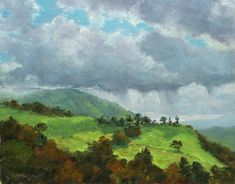 "$200 ""Chaboya"", 11x14, oil on panel. Plein Air  Fourth in my recent cloud studies from the east San Jose foothills, close to my house. Rather than going out after a storm, I went out yesterday just before an afternoon rain front was coming through. I eventually got rained out and had to finalize it in the studio. This is from the same location as the first in this series, ""Atmosphere"", but looking in the opposite direction, basically due south. The title is the road I was on."