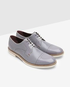 Textured leather derby shoes - Lilac | Shoes | Ted Baker