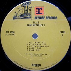 artist JONI MITCHELL title Blue label Reprise / MS 2038 year 1971 format LP