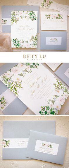 Dusty Blue Wedding Invitations Spring Floral Wedding Invite