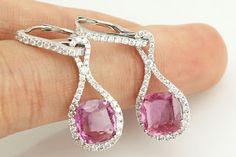 WJL JEWELLERY: Pink Sapphire diamonds earrings 6.01ct