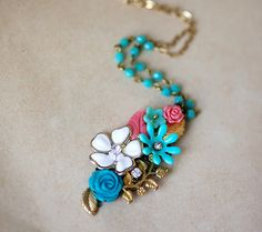 OOAK Christmas Gift for her Vintage style Necklace with by pardes, $45.00