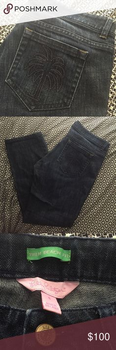 Lilly Pulitzer Palm Beach Fit Size 6 Jeans Adorable palm tree pocket! Excellent condition Lilly Pulitzer Jeans