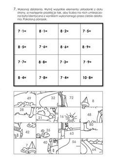 matematyczne kolorowanki puzzle - Szukaj w Google Math Activities, Lesson Plans, Memories, How To Plan, School, Google, Speech Language Therapy, First Grade