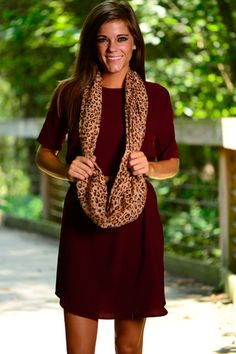 Burgundy shift dress with leopard scarf