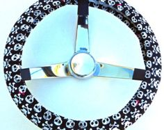 Black and White Skull and Crossbones Day of the Dead Steering Wheel Cover