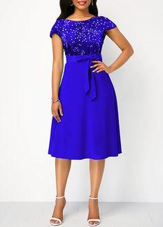 Cute Polka Dot Dresses Zipper Back Short Sleeve Royal Blue Shining Dress Lace Dress Styles, Nice Dresses, Short Dresses, Trendy Dresses, Latest African Fashion Dresses, Women's Fashion Dresses, Indian Gowns Dresses, Royal Blue Dresses, Lace Dress With Sleeves