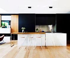 101 black white wood kitchen, cream and dark brown wooden cabinet