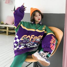 Women Hoodies Autumn Winter Harajuku Sweatshirts Cartoon Patchwork Letter Print Loose Feminino Harajuku Pullover - Women Hoodies Autumn Winter Harajuku Sweatshirts Cartoon Patchwork Let – geekbuyig - Mode Outfits, Grunge Outfits, Retro Outfits, Grunge Clothes, Girl Outfits, Green Fashion, Asian Fashion, Look Fashion, Gif Fashion
