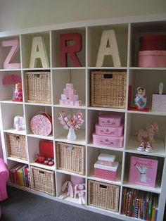 Girls room - storage - so cute! LOVE all this and all the storage you would have in baby's room! Cube Shelves, Cube Storage, Toy Storage, Storage Ideas, Storage Shelves, Barbie Storage, Cube Bookcase, Cube Organizer, Book Shelves