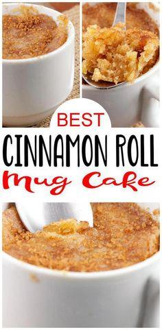 Cinnamon Roll Mug Cake! BEST Cinnamon Roll In A Mug Recipe – Quick & Easy 2 Minute Microwave Cinnamon Roll Idea – Breakfast - Snacks – Desserts – Treats Easy Microwave Recipes, Mug Cake Microwave, Easy Cake Recipes, Sweet Recipes, Microwave Food, Köstliche Desserts, Delicious Desserts, Yummy Food, Dessert Recipes