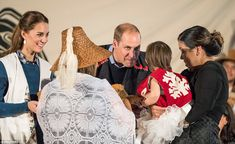 William and Kate spent time speaking with members of the local community as they received gifts in Bella Bella