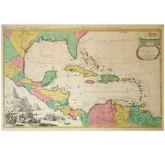 Pierre Mortier (1661-1711) Map of the West Indies | From a unique collection of antique and modern prints at http://www.1stdibs.com/furniture/wall-decorations/prints/