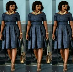 Look Jumoke Raji looks chic and style in her pleated dress African Print Dresses, African Print Fashion, African Fashion Dresses, African Attire, African Wear, African Women, African Dress Styles, Kitenge, Modest Fashion