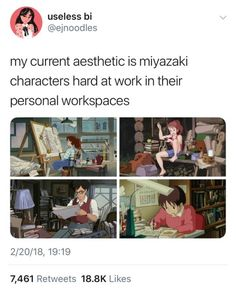 jumpingjacktrash: dxmedstudent: Ghibli characters always make. jumpingjacktrash: dxmedstudent: Ghibli characters always make me feel better about the complete chaotic mess of my workspaces. ghibli characters make me want to work hard Studio Ghibli Art, Studio Ghibli Movies, Studio Ghibli Quotes, Studio Ghibli Characters, Rurouni Kenshin Manga, Studio Ghilbi, My Academia, Marvel Comics, Howls Moving Castle