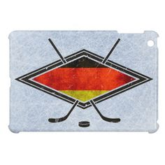 German Ice Hockey Flag iPad Cover.  These customizable hard shell iPad mini cases will protect your tablet while looking great! To see the full range of items with this #hockey design, please check out my store: http://www.zazzle.com/gamefacegear*/  #IceHockey
