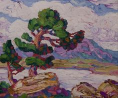 Birger Sandzen, American (1871-1954)  Pines by the Lake, Estes Park, Colorado, 1927, oil on board, signed lower left, and again with title and date verso, framed.  #american #art   www.linkauctiongalleries.com Western Landscape, Landscape Art, Dynamic Painting, California Coast, Estes Park, View Image, Impressionist, American Art, Pine