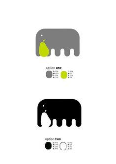 elephant logo  pear  green  gray  black