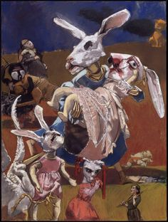 Paula Rego.. Wabbits, use of dramatic colours that contrast against each other