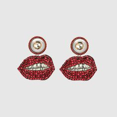 Gucci Women - Mouth earrings with crystals - 426478I12478192