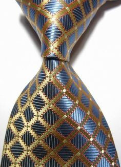 New Classic Checks Blue Gold Jacquard Woven Silk Men's Handmade Tie Necktie Great Mens Fashion, Big Men Fashion, Mens Fashion Suits, High Fashion, Fashion Ideas, Sharp Dressed Man, Well Dressed Men, Tie Accessories, Tie And Pocket Square
