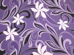 """Hawaiian Tahitian Fabric, Purple with White & Black Tiare Print - 45"""" wide, 2 yd (Other Colors Available)"""