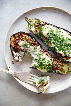 Loaded Grilled Eggplant Creamy Herb Sauce Vegetarian dairy-free BBQ Summer gluten-free paleo-friendly Lexi s Clean Kitchen Paleo Recipes, Whole Food Recipes, Cooking Recipes, Meat Recipes, Free Recipes, Dinner Recipes, Dessert Recipes, Vegan Recipes Summer, Vegan Recipes Dinner Healthy
