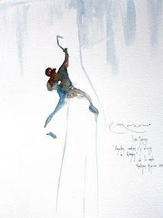 Water color drawing: Freeride Series – climbing/mountains | winter . Winter . hiver | artist / Künstler & mountain guide / Bergführer: Ricardo Montoro |
