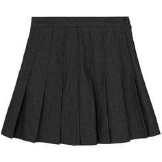 Denim Pleated Mini Skort ($27) ❤ liked on Polyvore featuring skirts, mini skirts, mini skirt, high-waisted skirts, denim pleated mini skirt, high waisted mini skirt and high waisted flare skirt