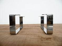 """8"""" x 16"""" Flat Stainless Steel Table legs, Sofa Legs, Height 4"""" to 11"""" SET(2)"""