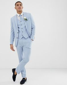 Find the best selection of ASOS DESIGN wedding skinny suit jacket in blue cross hatch. Shop today with free delivery and returns (Ts&Cs apply) with ASOS! Beach Wedding Groomsmen, Wedding Men, Wedding Suits, Light Blue Suit Wedding, Blue Wedding, Mens Fashion Suits, Mens Suits, Groom Suits, Fashion Hats