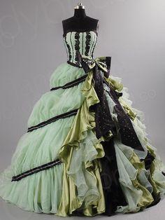 green ball gown | Ball Gown Strapless Chapel Train Taffeta Green Color Dress Oclbjs0087 ...