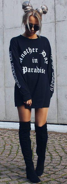 #fall #trending #outfits | Oversized Sweater + Overknees