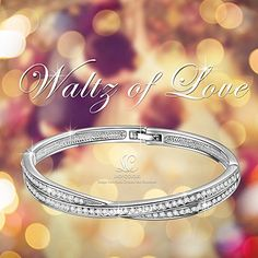 "Amazon.com: LadyColour Mothers Day Gifts Waltz of Love Bangle Bracelets 7"" Made With Swarovski Crystals, White Gold Plated Fashion Jewelry Christmas Gifts Birthday Gifts Graduation Gifts for Women Girls Daughter: Clothing"