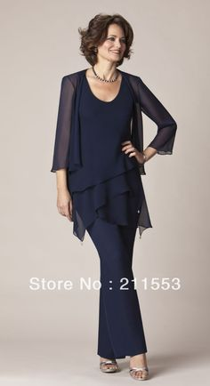 Wholesale Chiffon Dark Navy Mother of the Bride Pant Suits