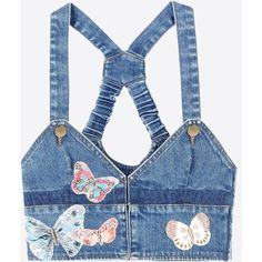 Valentino Crop Top In Embroidered Denim (57.435 RUB) ❤ liked on Polyvore featuring tops, blue, butterfly top, crop top, denim crop top, tall tops and zipper crop top