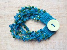Crochet Beaded Bracelet Turquoise Blue Green Glass Beads Button Beach Ocean…